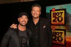 Cody Alan (left) and Blake Shelton pose on the set of <I>CMT Hot 20 Countdown</I>.