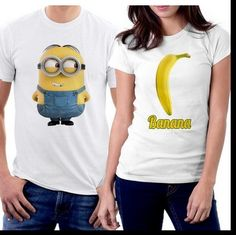 The Funny Minion And The Banana Love Couple T-shirts