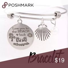 New Love You to the Beach & Back Bangle Bracelet 3 charm bangle bracelet. Silver tone. New in package.  Adjustable.  BR Jewelry Bracelets
