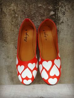 Handpainted shoes , unique, artsy, quirky ballerina by www.zubiya.com heart shoes