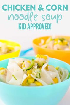 Easy chicken and corn noodle soup, loved by kids Healthy Family Dinners, Healthy Meals For Kids, Family Meals, Kids Meals, Healthy Recipes, Family Recipes, Free Recipes, Healthy Food, Asian Chicken Noodle Soup