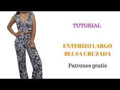 En este tutorial aprenderás Cómo hacer un enterizo largo con blusa cruzada, descarga los patrones gratis y hazlo tú mismo/a Ramones, Jumper, Jumpsuit, Couture, Sewing, Pattern, Pants, Dresses, Youtube Youtube