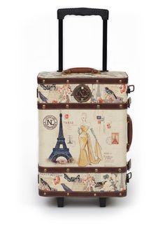 Sweet travel bag. Is hard like a trunk.