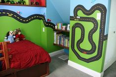 Corner of transportation room with magnetic race track with matchbox cars that we glued magnets to. Perfect boys room! | Flickr - Photo Sharing!