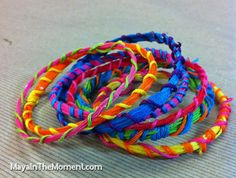 iLoveToCreate Blog: MAYA IN THE MOMENT: Stiffened Embroidery Floss Friendship Bracelets