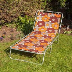 Vintage Retro Orange & Brrown Floral Cotton Garden/Pool/Beach Sun Lounger Sun Bed by UpStagedVintage on Etsy