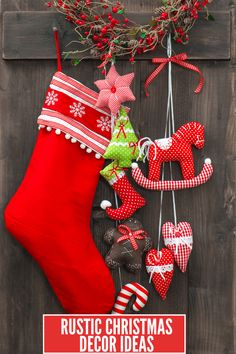 Add rustic Christmas decor to your home this year with these home decor ideas! These ideas include vintage touches mixed with burlap, red, and greenery. Cottage Christmas, Rustic Christmas, Christmas Home, Christmas Crafts, Christmas Decorations, Holiday Decor, Christmas Christmas, Stocking Stuffers For Boys, Christmas Stocking Stuffers