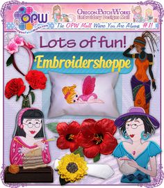 Shop lots of FUN, FUN, FUN direct stitch and 3Dimensional, machine embroidery designs, when you visit Embroidershoppe!  #3dmachineembroidery #machineembroiderydesign #machineembroidery