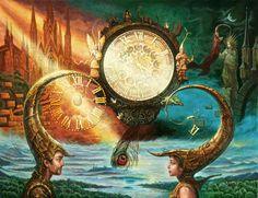 Surreal Fantasy Art | Clock Picture (2d, fantasy, landscape, surrealism, river, modern art)