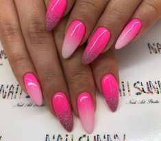 25 Trendy Pink Acrylic Summer Nails Ideas - Ready To Meal Nail Art Design Gallery, Best Nail Art Designs, Colorful Nail Designs, Pink Manicure, Pink Acrylic Nails, Gradient Nails, Bright Pink Nails, Glittery Nails, Super Nails