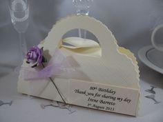 Ivory Silk Handbag Box Favour for 80th Birthday