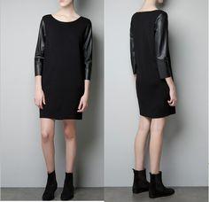 Aliexpress.com : Buy 2013 New arrival Fashion Women Elegant Straight PU leather Sleeve Dresses classic black patchwork Casual Slim vintage O...