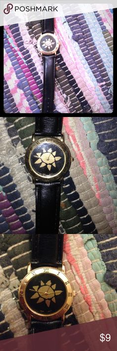 Gold, sun watch✨ Black leather (faux I'm sure) band watch. The sun watch is so cute and I love the Roman numeral. Never worn. Didn't really fit my tiny wrist. Make an offer plz if you like  Accessories Watches