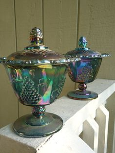 Blue Carnival Glass Lidded Candy Dish Pair