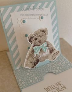 handmade baby card from Papercraft With Crafty ... luv the triple stamp teddy bear! ... sliding pop-up format ... great card for display ... Stampin' Up!