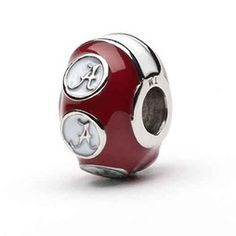 Alabama Bead Charm for Bracelet or Necklace Crimson with White. Perfect gift for graduates and Alumni.
