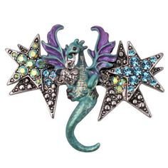 KIRKS FOLLY AQUA & PURPLE STAR DRAGON PIN ENHANCER IN ANTIQUE SILVERTONE