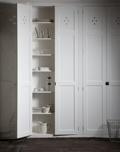 The Classic Fitted Pantry Cupboard by deVOL Kitchens. Shaker Kitchen, Kitchen Pantry, Kitchen Storage, Tall Cabinet Storage, Kitchen Ideas, Kitchen Layouts, Kitchen Inspiration, Pantry Ideas, Kitchen White