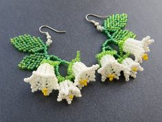 Lily of the valley earrings Summer outdoors Summer party Wild flowers Beaded earrings Dangle earring valley Lily of the valley earrings Summer outdoors Summer party Wild flowers Beaded earrings Dangle earrings Seed bead earrings Flowers earrings Beaded Flowers Patterns, Beaded Earrings Patterns, Beaded Tassel Earrings, Beading Patterns, Beaded Necklaces, Crochet Necklace, Lace Necklace, Bead Crochet, Bracelet Patterns