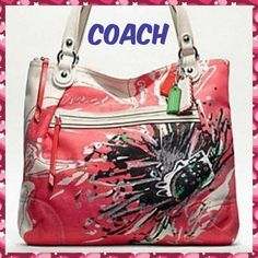 "COACH Poppy Glam Flower bag light khaki/coral! Light Khaki glittered canvas fabric displaying a bright coral poppy flower print. With detailed stitching and sequin accents. Approximately height 16"" by 13"" width and 5"" bottom with 8"" strap drop. Large bag! A few brown specks, seen in last picture, on back of purse. Very cute bag! Coach Bags"