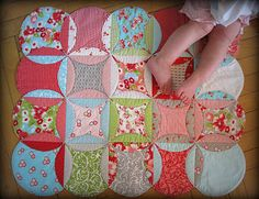 fun & fast way to make a cathedral window baby playmat, tutorial on moda bake shop
