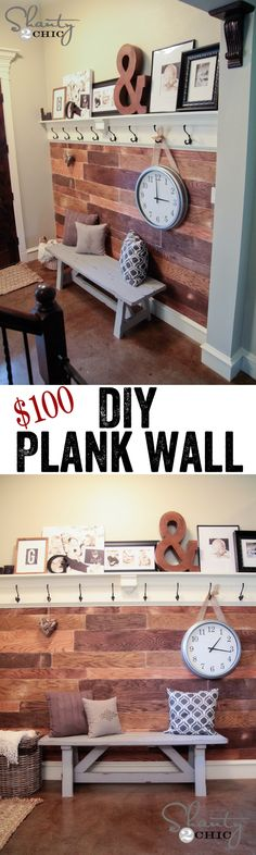 Easy and Cheap DIY Plank Wall! I love plank walls! The are elegant and elongate a room! Diy Home Decor, Room Decor, Wall Decor, Clock Decor, Plank Walls, Home And Deco, My Living Room, Small Living, My New Room