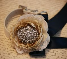 Lace wedding, Dog Floral Collar, Pet Wedding Accessory, Champagne Floral Collar with Navy Ribbon, Navy Wedding idea