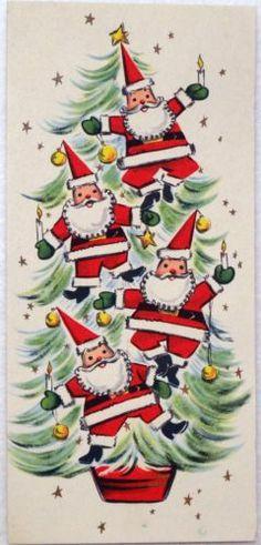 #1749 50s Mid Century Santa's on the Tree-Vintage Christmas Card-Greeting