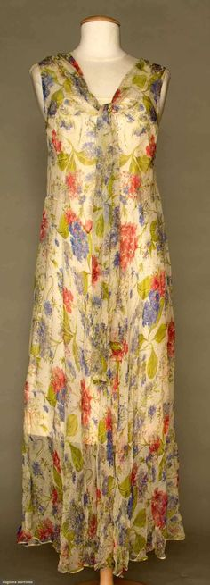 Augusta Auctions, November 2, 2011 NYC, Lot 349: Two Floral Chiffon Day Dresses, 1930s