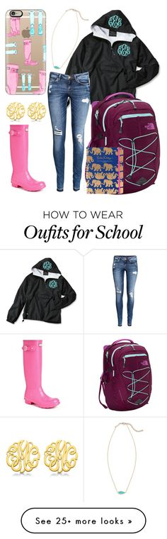"""Rainy school outfit"" by jadenriley21 on Polyvore featuring Hunter, Casetify, H&M, The North Face, Allurez, Lilly Pulitzer and Kendra Scott"