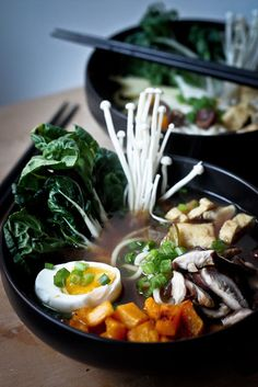 Photo's not vegan, but recipe is -- delicious-sounding recipe for ramen noodles using smoked shiitake mushrooms with instructions on how to smoke it at home on the stove top!