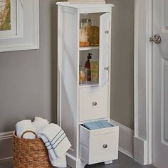 Make Photo Gallery Weatherby White Bathroom Cabinet u its slim design and tall height make it a perfect storage piece for small bathrooms