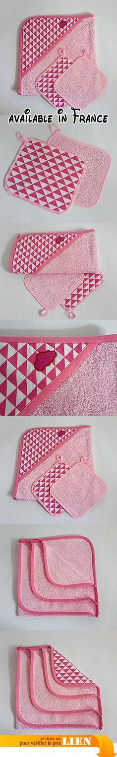 """Cape de bain bébé et ces 2 lingettes lavables, en éponge coton rose et imprimé triangles, thème """"rétro pop"""" , 0/6 mois, fait-main en France.  #Guild Product #GUILD_BABY"""