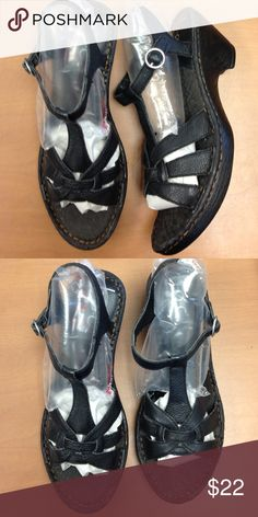 "7 B.O.C. Born Black Leather Sandals Buckle Low BOC shoes in great condition, size 7/38. Nice & clean. 2 1/2"" heel. Born Shoes Sandals"