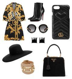 """GLAM"" by ricardocamacho on Polyvore featuring moda, Versace, Christian Louboutin, Gucci, Maison Michel, Prada, Witchery y Balenciaga"