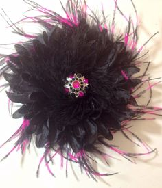 Hot Pink Black Feather Flower Clip at my Etsy shop https://www.etsy.com/listing/207671231/black-hot-pink-feather-rhinestone-black