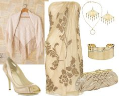 This gold and ivory outfit looks sexy and classy, perfect for a warm spring evening out.