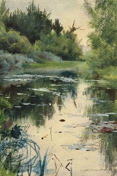 natur landscape Anders Zorn, a natu - natur Art Aquarelle, Watercolor Landscape, Watercolour Painting, Landscape Art, Landscape Paintings, Watercolors, Oil Paintings, Painting Art, Wow Art