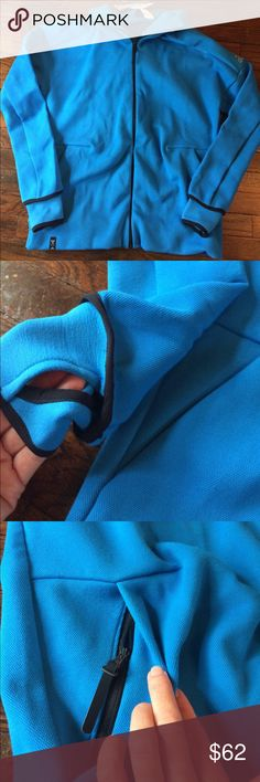 Gorgeous turquoise hoodie Brand new gorgeous turquoise hoodie with black trim.. A definite must for your collection! This elegant designed hoodie offers pockets in front with zippers to secure items. Adidas logo on left upper sleeve is in a light gray color. Sleeve offer thumbs holes if desired. On the sleeves hard to see in pictures, they have a design very light in printed down the sleeves. Soft, heavyweight material for ultimate and a premium look! adidas Other