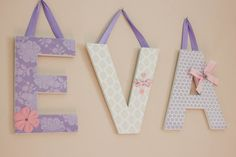 Nursery LettersCustom Hanging Wall Letters by displayyourheart, $12.00