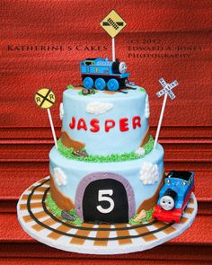 Birthday 136 -- Thomas The Train Birthday Cake for Jasper, who is Five Years Old!