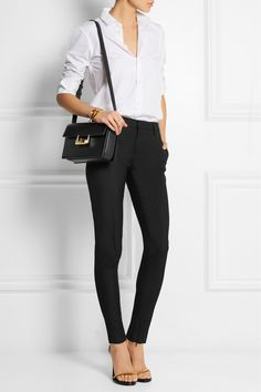 Saint Laurent Lulu medium leather shoulder bag+ white shirt + black wool-gabardine skinny pants