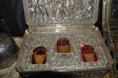 Gold, frankincense, and myrrh, of course. It is kept at St. Paul's Monastery on Mount Athos in Greece. via blogger