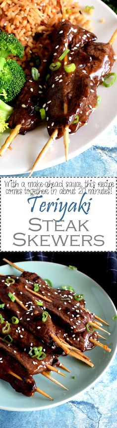 Tender, thinly sliced sirloin tip steak, grilled to perfection with a sweet glaze. Teriyaki Steak Skewers are a great indoor or outdoor grilling option!