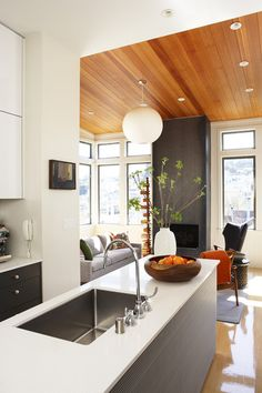 Bead board ceiling warms the entire space