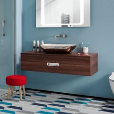 For lovers of blue bathrooms! Modern & family friendly, this bathroom is so simple yet so on-trend. <3 the platinum countertop basin too!