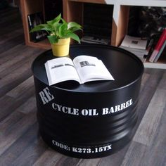 Giving new life to old oil barrels require creativity, and there are ways to recycle oil drum into beautiful furniture. The concept of oil drum furniture is a refreshing take on how modern interiors can be livened-up with such creative ideas. Oil Barrel, Metal Barrel, Barrel Coffee Table, Cool Coffee Tables, Upcycled Furniture, Furniture Decor, Furniture Outlet, Cheap Furniture, Discount Furniture