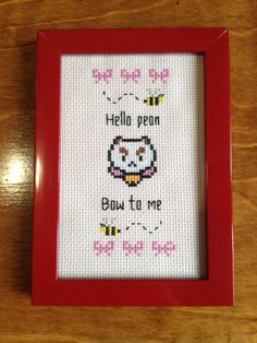 Framed Bee and Puppycat Cross Stitch by StringsandNeedles on Etsy