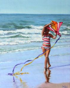 Original Oil Painting young girl with kite at by BarbaraWalshArt Kayaking With Dogs, Kayaking Ideas, Beach Art, Beach Pool, Kayak Accessories, Inflatable Kayak, Go Camping, Beautiful Day, Beach Paintings