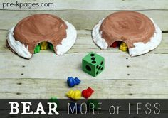 Bear more or less math activity for your preschool, pre-k, or kindergarten classroom. Fun, hands-on counting and comparison game for a bear or winter theme. Bear Crafts Preschool, Preschool Lesson Plans, Preschool Activities, Preschool Winter, Pre K Activities, Kindergarten Activities, Winter Activities, Maths Eyfs, Numeracy